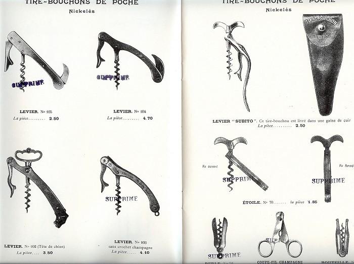 TIRE-BOUCHON CATALOGUE PERILLE 1924 Fils PERILLE (1903-1925)