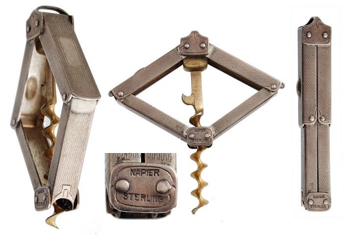 1891 SILVER Hollweg Patent Corkscrew