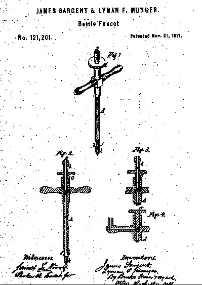 1871 Sargent and Munger (?) patent champagne tap