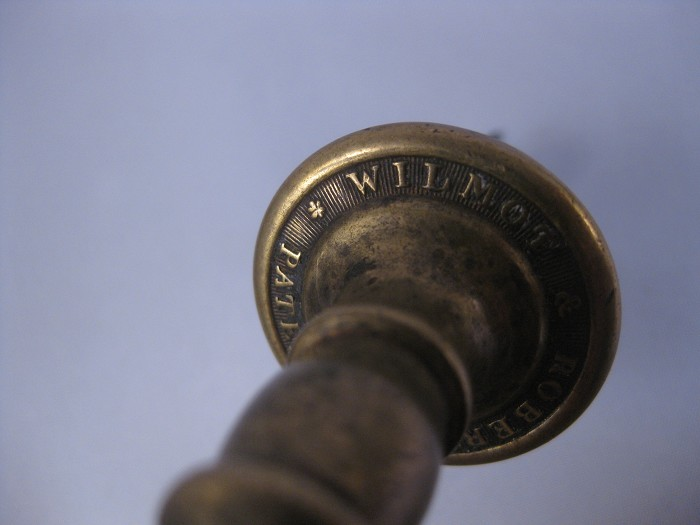 """EARLY ENGLISH """"T"""", BRASS MARKED BUTTON"""