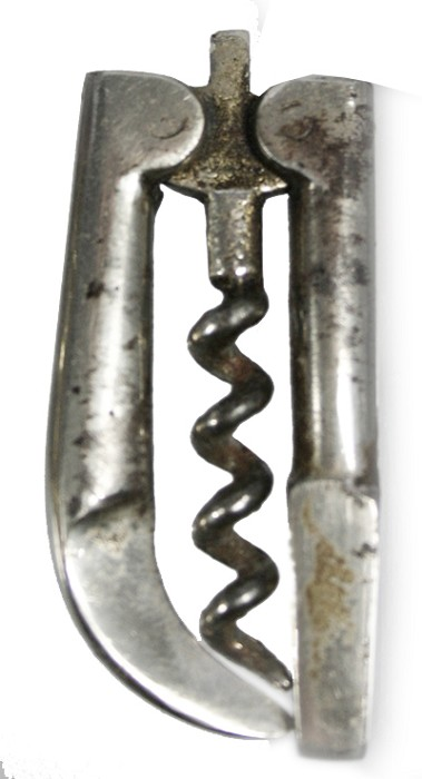 English folding two arms corkscrew, cariage key and hoof pic
