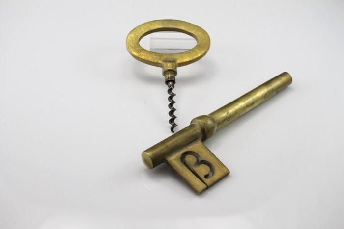 Big brass key corkscrew