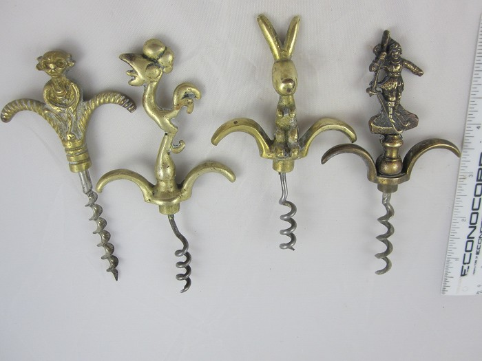 British Brass Figural eyebrow corkscrews--4 different styles