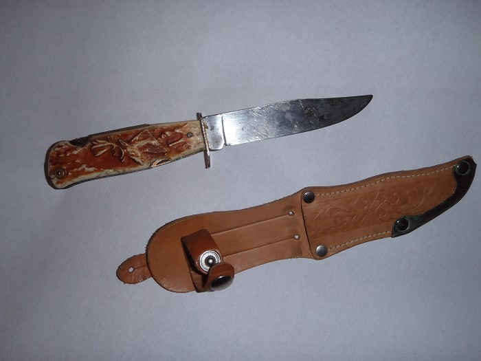 1970 boy scout hunting knife with tools and corkscrew
