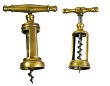 Tw0 Italian brass corkscrews, ca 1930, a bigger and a small