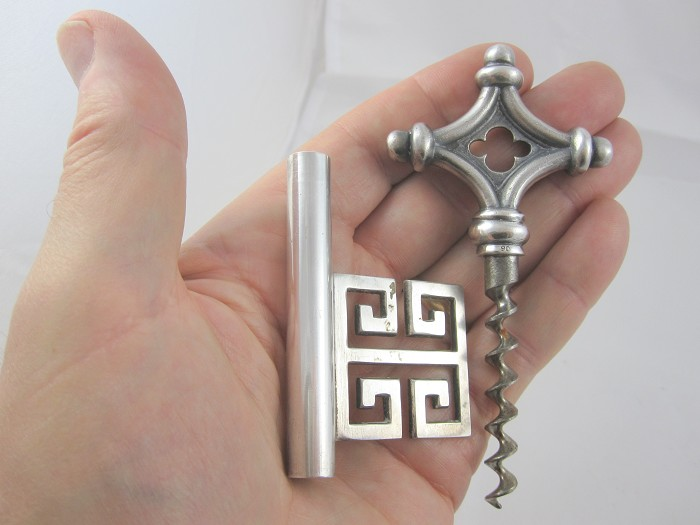 German Silver Key corkscrew w/ key bit & fancy handle