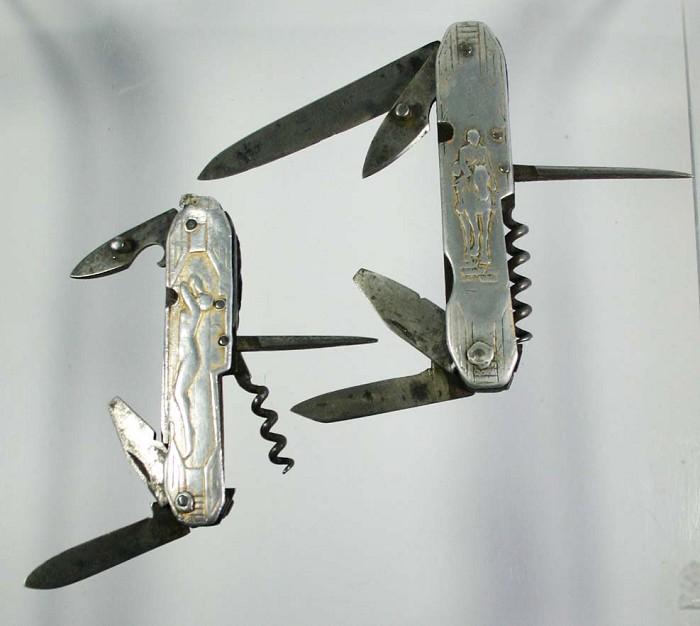2 aluminium  decorative knives 1930's, art deco