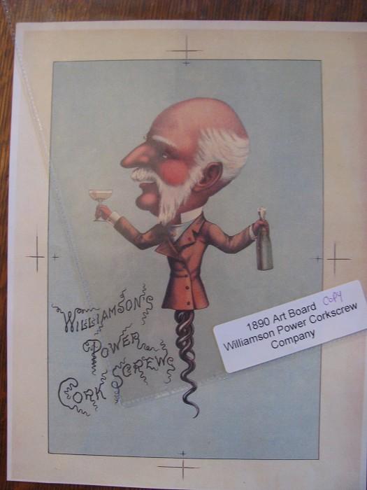 1890 ART BOARD, WILLIAMSON POWER CORKSCREW COMP.  PRINT COPY