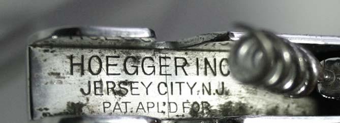 J. Hoegger's US 1930 patent marked HOEGGER INC. JERSEY