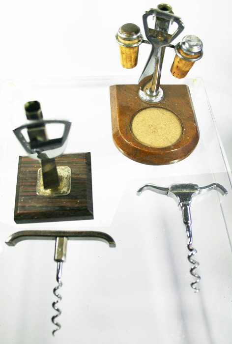 2 art deco sets on stand with corkscrew & cap lifter1930's