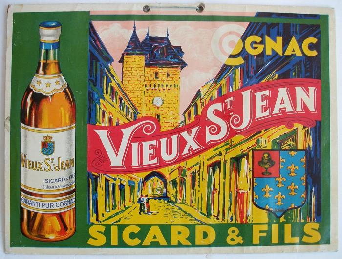 ANCIEN CARTON VIEUX ST JEAN COGNAC SICARD & FILS ST JEAN D'A
