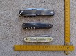 3 old german pocket knives with tools and corkscrew