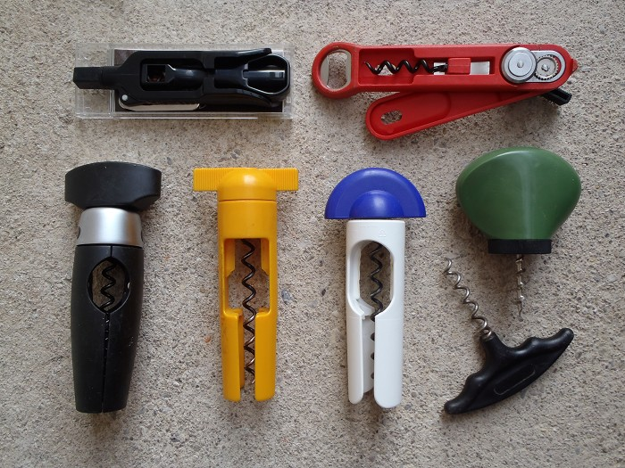 Novelty lot of 7 plastic corkscrews WMF Sieger Tupper AMC ..