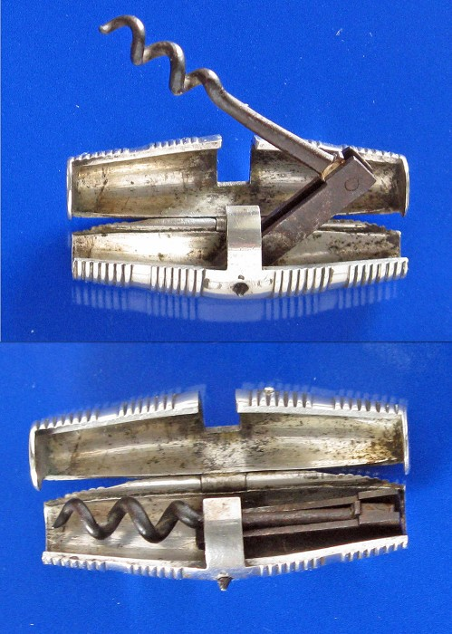 Dutch Barrel shaped 18th century double folding corkscrew
