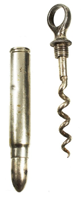 German bullit- shaped, nickle-plated picnic corkscrew