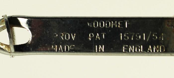 WOODMET PROV PAT 15791/54 MADE IN ENGLAND