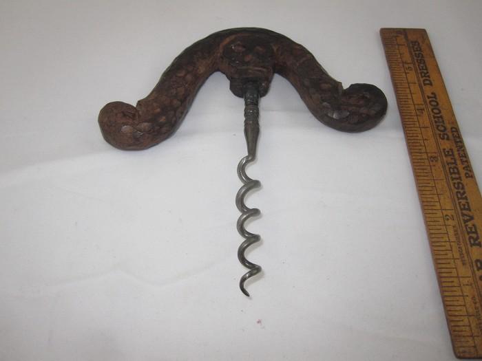 "Figural ""VooDoo"" wood carved handle corkscrew"
