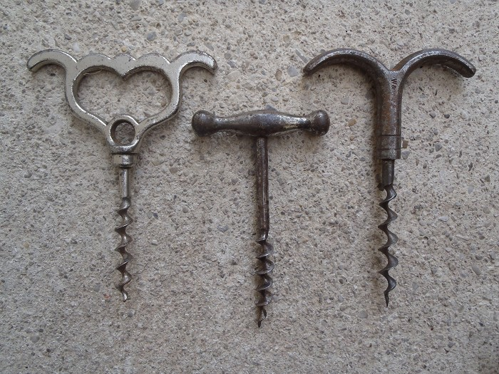 3 iron handle corkscrews - willets eyebrow , german , etc...