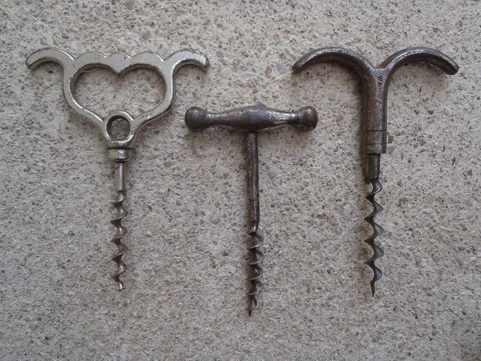 3 iron handle corkscrews - willets eyebrow , german , etc...