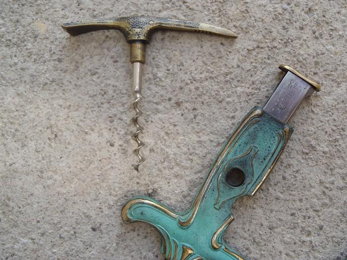 2 cast brass combination corkscrews app. 1970 !!!