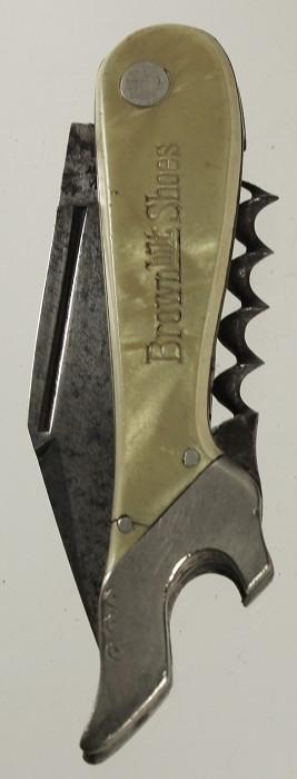 Us leg-shaped knife adverising Brown Ltd Shoe ca 1910
