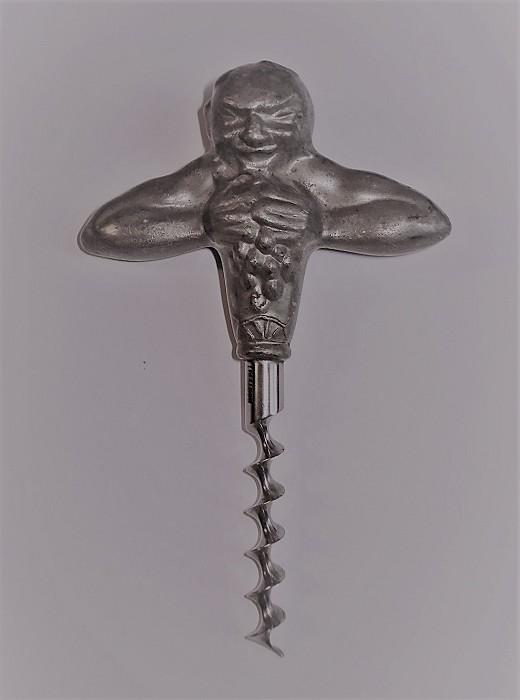 SWEDISH ART DECO PEWTER CORKSCREW, CA 1925. BACCHUS.
