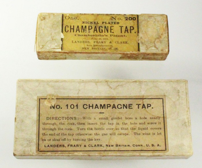 2 x LANDERS FRARY AND CLARK champagne taps in box