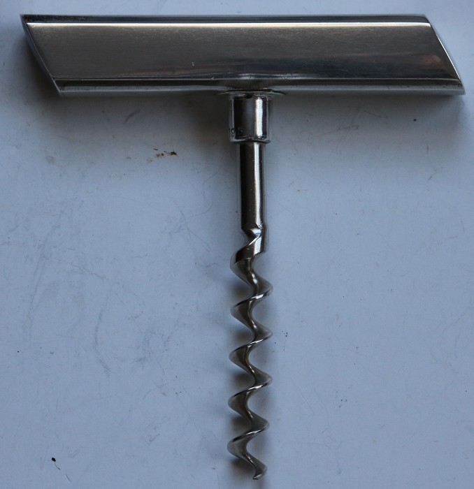 Excellent T-Handled Sterling Silver Corkscrew Marked JH.