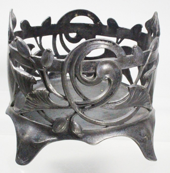 pewter art nouveau bottle holder , German, ca 1900