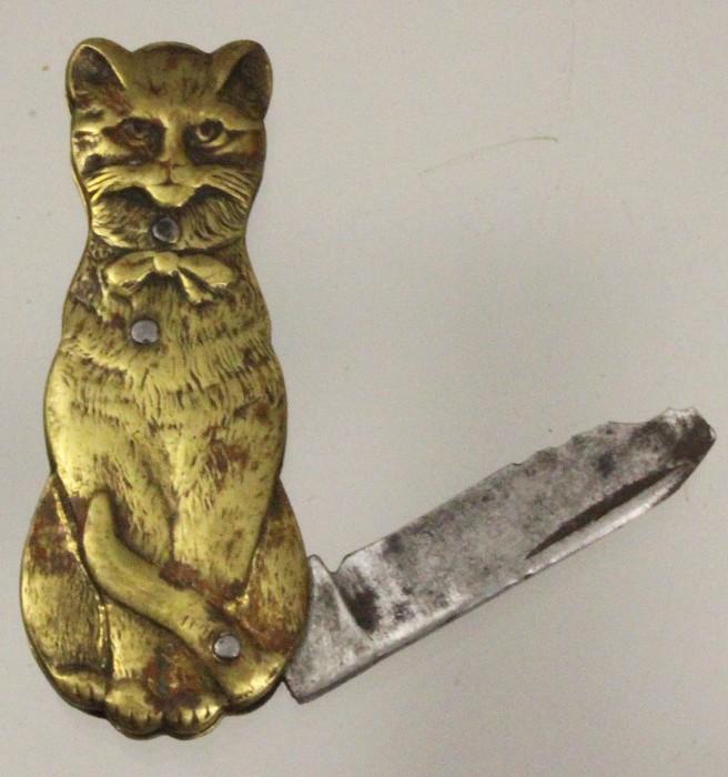 French, brass, cat-shaped  pocket knife