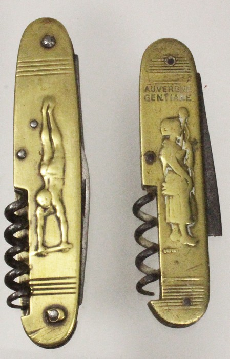 two French knives with brass scales Coursolle or Pradel 1930
