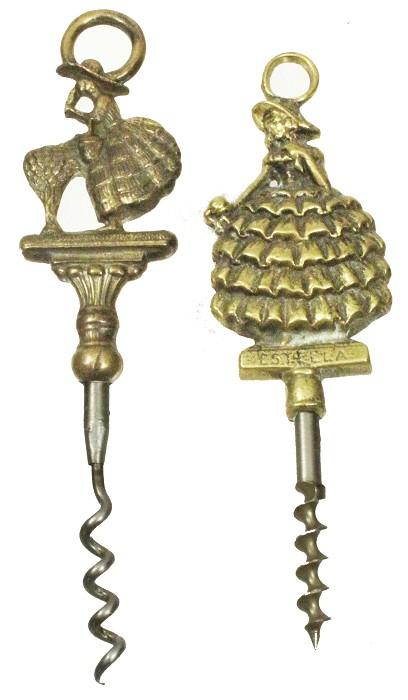2 English ladies-shaped brass T screws Estella Br Reg D.1945