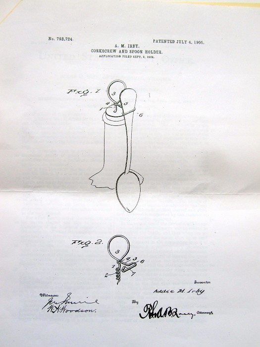 A.M.IRBY 1905 U.S. Pat. corkscrew/spoonholder combo replica