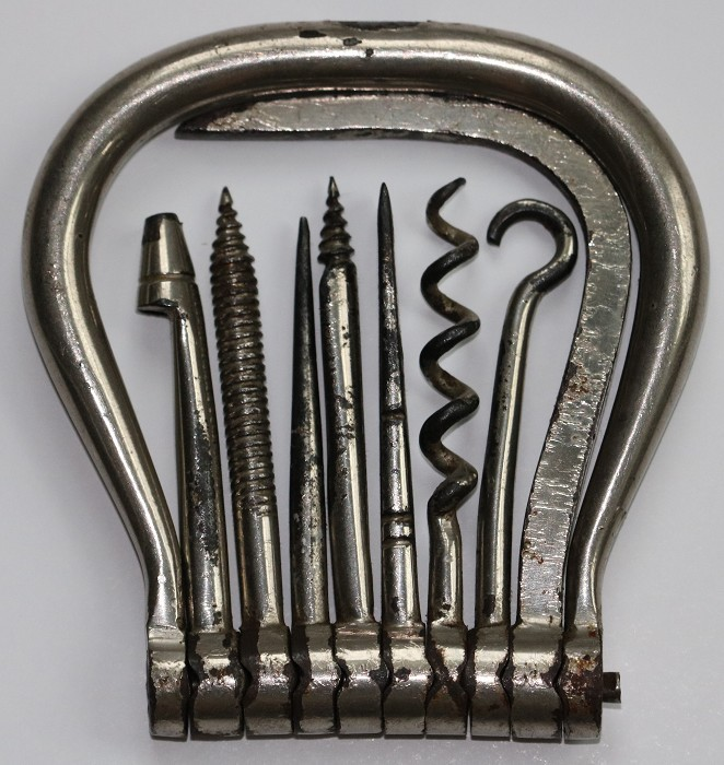 English 19th Century Eight Tool Folding Bow Corkscrew