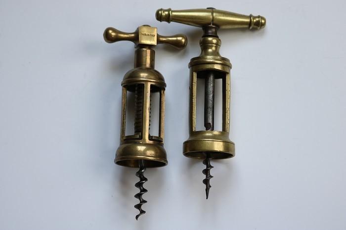Four Italian Brass Mechanical Corkscrews