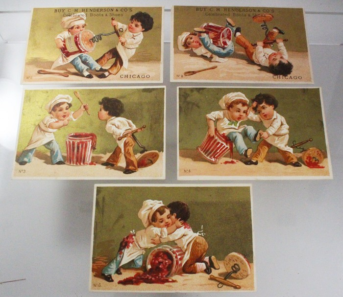 5 French promotion cards ca 1900