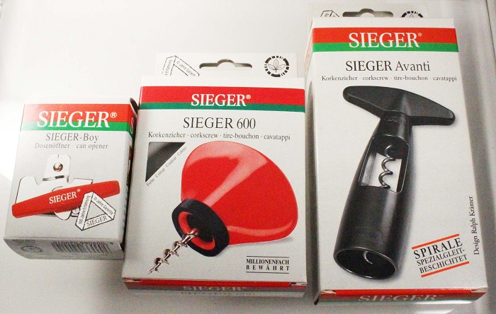 2 corkscrew + opener never used SIEGER, one patent