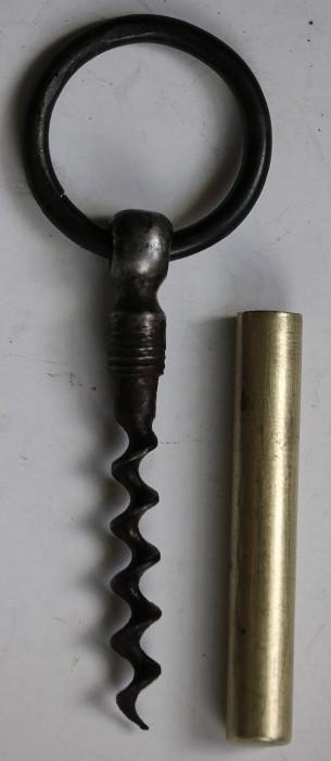 19th Century Pocket Corkscrew with Brass Sheath & Key Ring