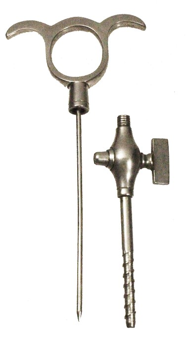 English champagne tap, two parts, tap and needle