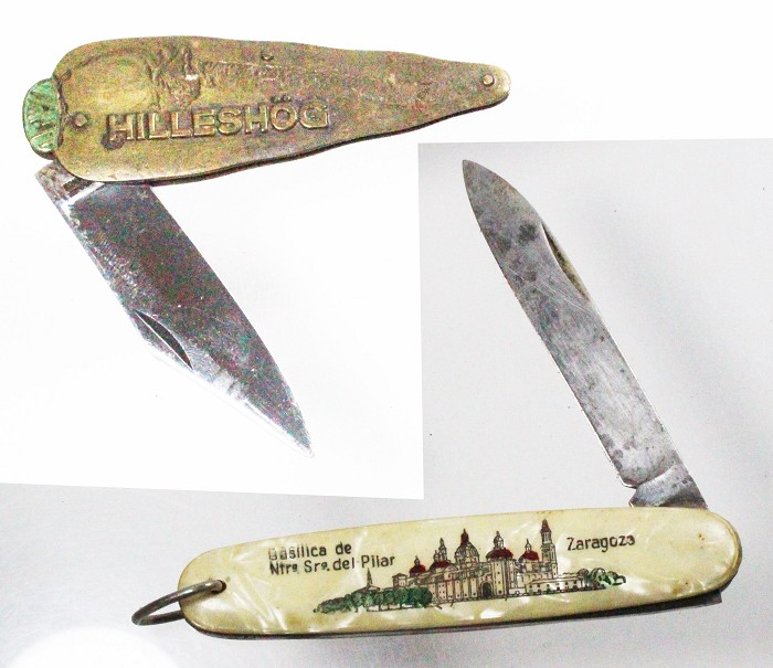 Two knives, souvenir ZARAGOSSA and Hilleshög