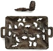 CORKSCREW FRENCH WINE WOOD PLATE & WINE PIPE