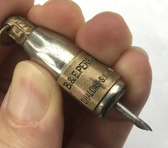 FRENCH TINY CIGAR PIERCER CHAMPAGNE B&E PERRIER CHALONS S/MA
