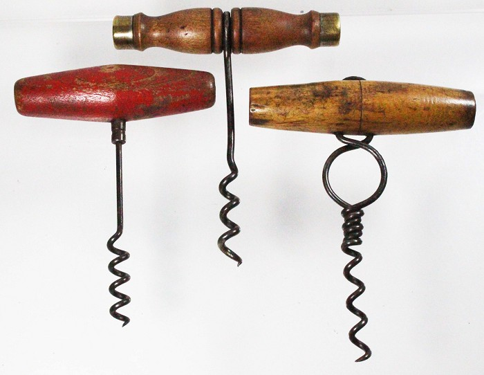3 US wire corkscrews, a rare one with finger hole, one with