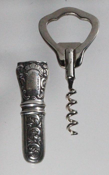 Silver pocket corkscrew, Sharstens Norwegian patent, marked