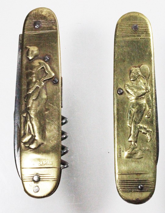 2 French knives depicting  sports