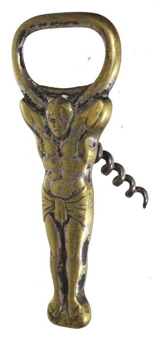 Scandinavian brass folding cap lifter with corkscrew