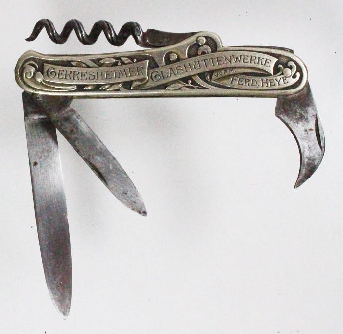 Knife showing man and bottles HEYE GERRESHEIM