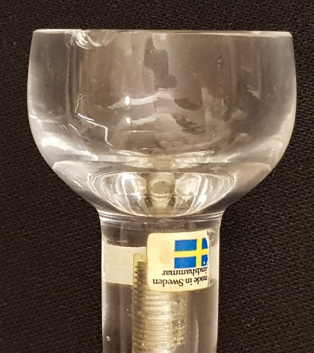 Two Swedish corkscrews with crystal glasshandels