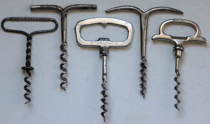 Group of Five Different Steel Corkscrews.