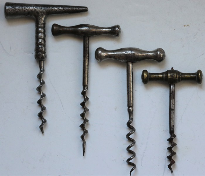 Four Metal T- Handled Corkscrews